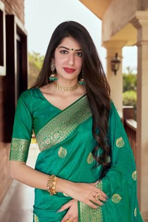 Teal green Banarasi Silk Saree with Blouse