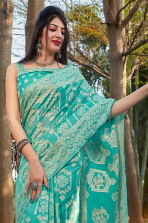 Turquoise Cotton Silk Saree with Blouse