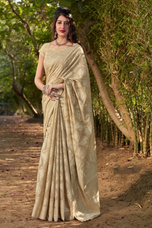 Beige Cotton Silk Saree with Blouse