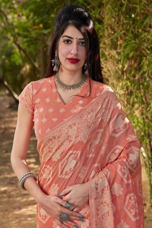Peach Cotton Silk Saree with Blouse
