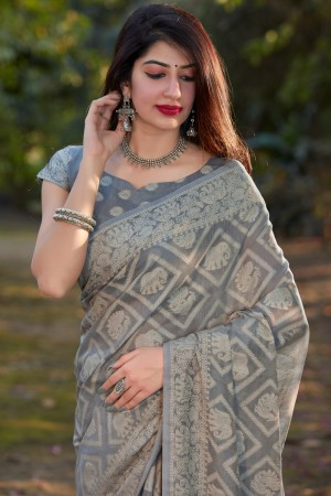 Grey Cotton Silk Saree with Blouse