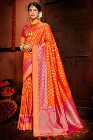 Orange Soft Silk Saree with Blouse