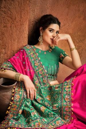 Rani pink Pure Satin Saree with Blouse