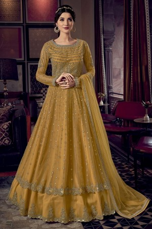 Mustard Butterfly Net Salwar Kameez