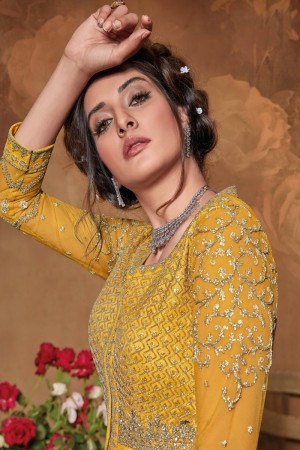 Yellow Butterfly Net Salwar Kameez