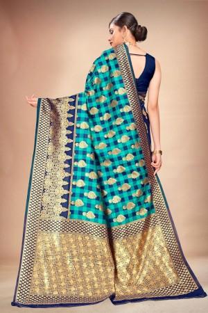 Rama & Navy Blue Banarasi Silk Saree with Blouse
