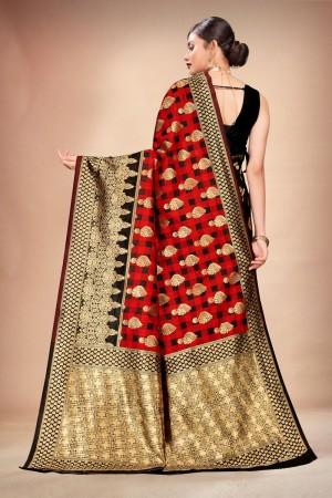 Red & Black Banarasi Silk Saree with Blouse