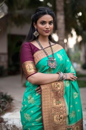 Mint Banarasi Silk Saree with Blouse