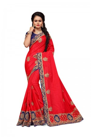 Voluptuous Red Two Tone Silk Embroidary & Hand work Saree