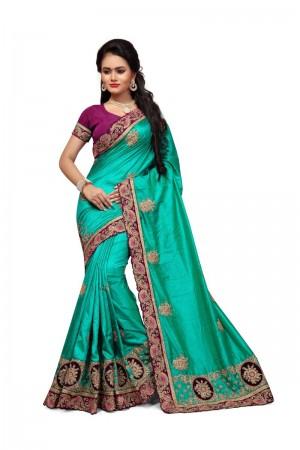 winsome Rama Two Tone Silk Embroidary & Hand work Saree