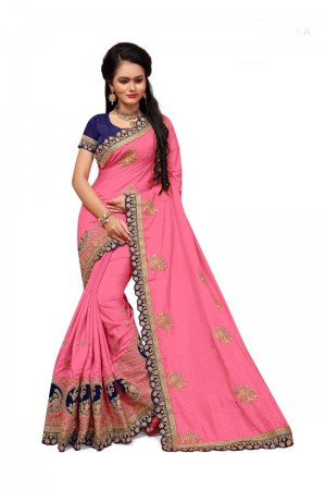 Wondrous Pink Two Tone Silk Embroidary & Hand work Saree