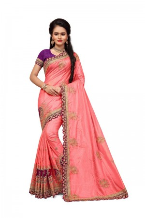 Delightful Peach Two Tone Silk Embroidary & Hand work Saree