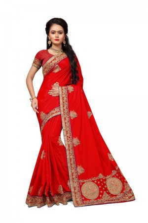 Staggering Red Two Tone Silk Embroidary & Hand work Saree