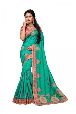 Marvelous  Rama Two Tone Silk Embroidary & Hand work Saree