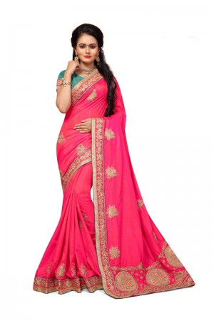 Charismatic  Pink Two Tone Silk Embroidary & Hand work Saree