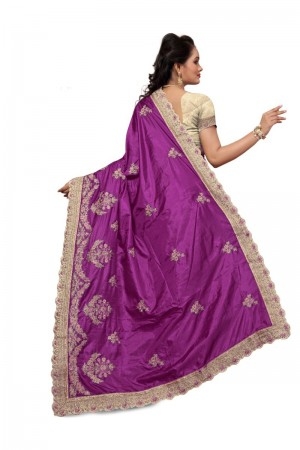 Divine Purple Two Tone Silk Embroidary & Hand work Saree