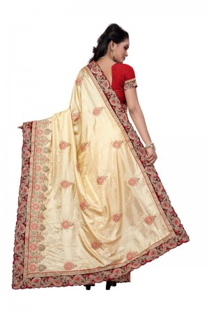 Classic Cream Two Tone Silk Embroidary & Hand work Saree