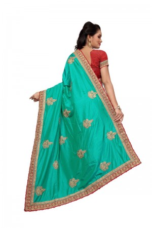 Beguiling Rama Two Tone Silk Embroidary & Hand work Saree