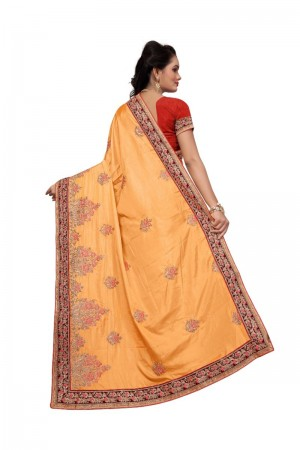 Fantastic Yellow Two Tone Silk Embroidary & Hand work Saree