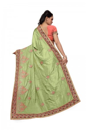 Sensuous Mehendi Two Tone Silk Embroidary & Hand work Saree