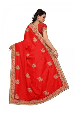 Stupendous Red Two Tone Silk Embroidary & Hand work Saree
