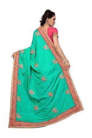 Blissful Rama Two Tone Silk Embroidary & Hand work Saree
