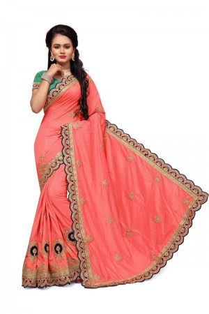 Pleasant Peach Two Tone Silk Embroidary & Hand work Saree