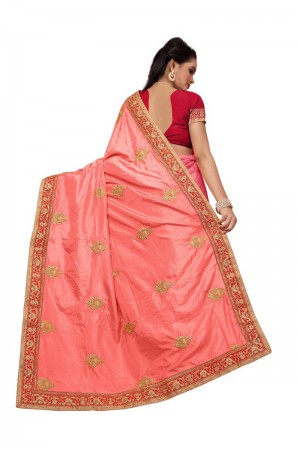 Graceful Peach Two Tone Silk Embroidary & Hand work Saree