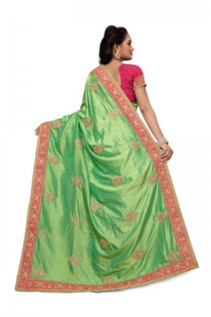 Bewitching Green Two Tone Silk Embroidary & Hand work Saree