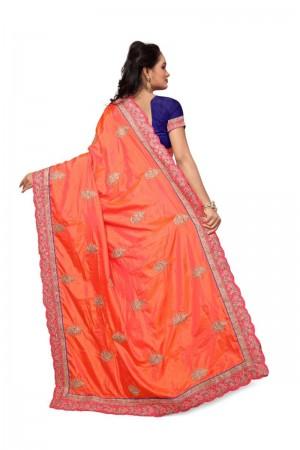 Captivating Orange Two Tone Silk Embroidary & Hand work Saree