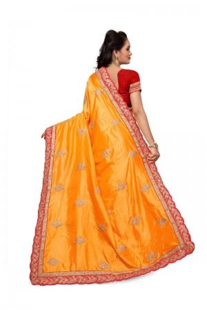 Luscious Yellow Two Tone Silk Embroidary & Hand work Saree