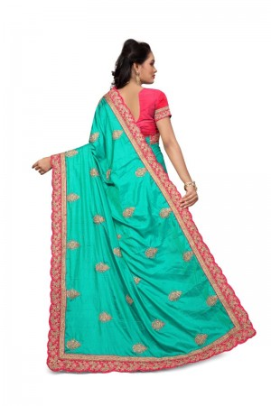 Glitzy Rama Two Tone Silk Embroidary & Hand work Saree