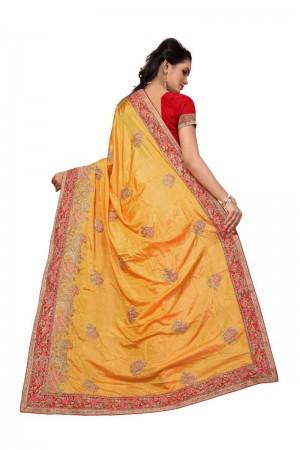 Ethnic Yellow Two Tone Silk Embroidary & Hand work Saree