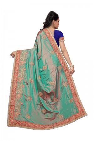 Distinctive Green Two Tone Silk Embroidary & Hand work Saree