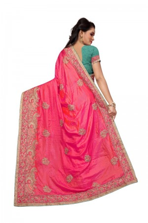Engrossing Pink Two Tone Silk Embroidary & Hand work Saree