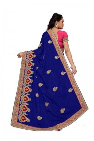 Ravishing Blue Two Tone Silk Embroidary & Hand work Saree