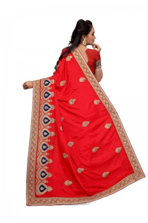 Divine Red Two Tone Silk Embroidary & Hand work Saree