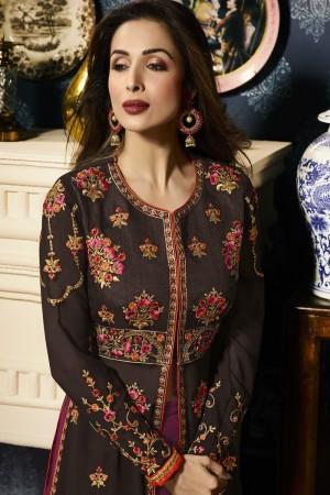 Malaika Arora Brown Faux Georgette  Thread & Zari Embroidery with Diamond Work  Anarkali Suit