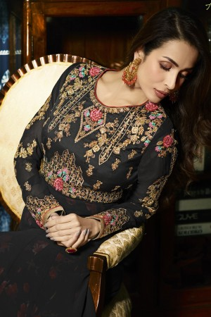 Malaika Arora Black Faux Georgette  Thread & Zari Embroidery with Diamond Work  Anarkali Suit