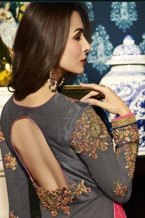 Malaika Arora Grey Faux Georgette  Thread & Zari Embroidery with Diamond Work  Anarkali Suit
