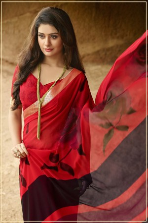 Adorable Maroon Pure Georgette Print With Lace Border Saree