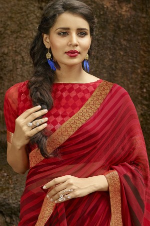 Exuberant Maroon Pure Georgette Print With Lace Border Saree