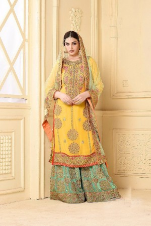 Mod Yellow Heavy Georgette Heavy Embroidery Sarara Suit