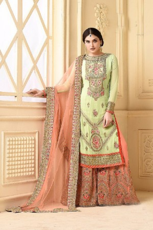Vogue Pista Heavy Georgette Heavy Embroidery Sarara Suit