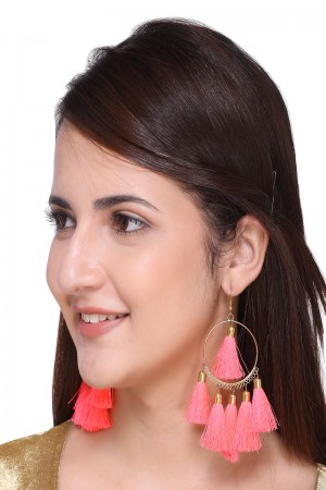 Pink color Metal with Pompom Earring