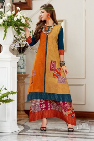 Appealing Multicolor Cotton Print Fancy Pattern Kurti