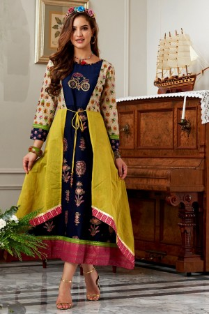 Modest Multicolor Cotton Print Fancy Pattern Kurti
