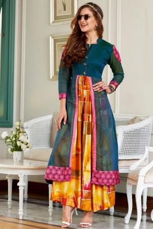 Superb Multicolor Kora & Rayon Print Fancy Pattern Kurti