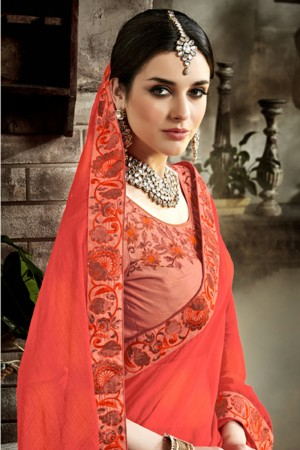 Marvelous Orange Fancy Fabric Embroidered  Blouse Saree