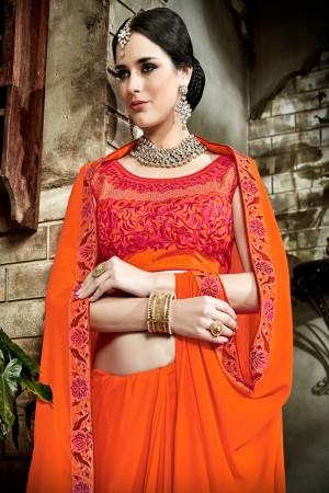 Impressive Orange Fancy Fabric Embroidered  Blouse Saree